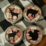 Deer Red Plaid Large Jar Lid Ornament Hanging Decor (customizable background)