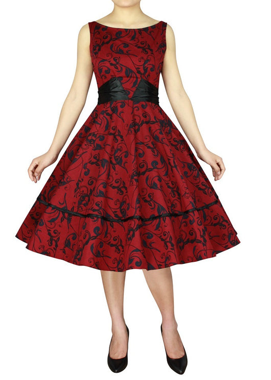 red print wide satin sash bow in back 50s retro vintage dress plus size