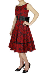 Red Print Cotton with Wide Satin Sash Bow in Back Classic Full Skirt Swing Dress