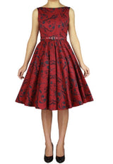 Red Cotton Sleeveless Belted Classic Full Skirt Swing Dress Retro 50s Pinup Vintage Plus Size