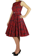 Red Print Cotton Belted Classic Full Skirt Swing Dress (Available in sizes 18 Plus and 24 Plus)