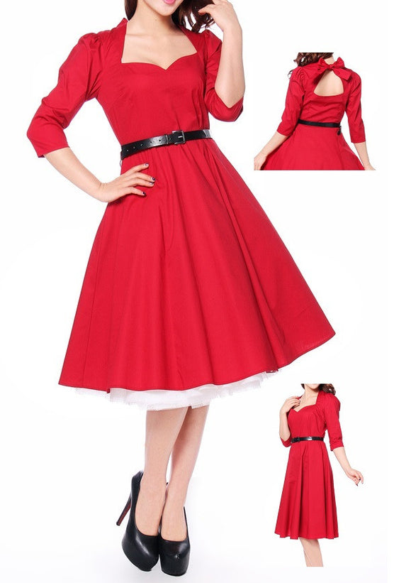 Red Pinup Dress Sweetheart Neck Open Back 50s Rockabilly Retro