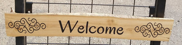 Welcome with Scroll Art Handcrafted Raw Edge Siberian Elm Wood Wall Art Sign - 29.25