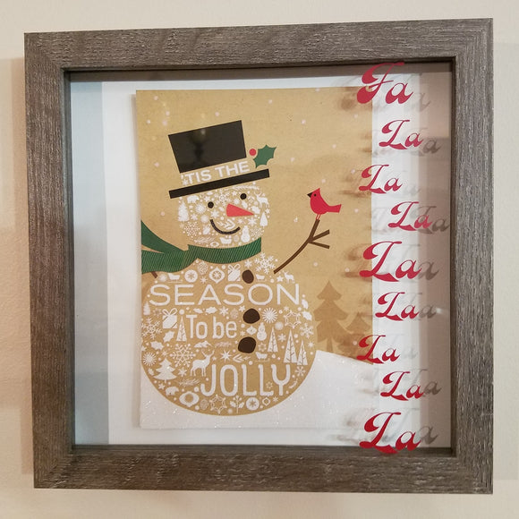 Snowman Winter Framed Barnwood Picture Wall Art Holiday Home Decor Christmas Country