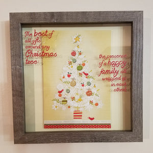The Best of All Gifts Around Any Christmas Tree...Happy Family Framed Shadow Box Wall Art or Table Top