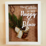 The Cabin is My Happy Place White Framed Shadow Box Wall Art or Table Top