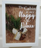 the cabin is my happy place country living decor lake home mountains rustic framed wall art picture sign