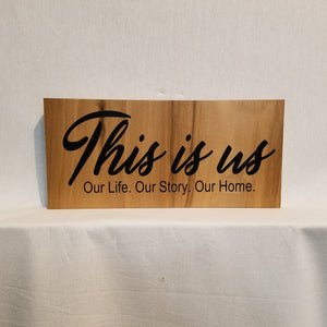 this is us sign wood wall art home decor gift natural family rustic
