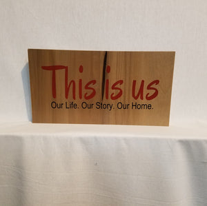 this is us sign wood wall art home decor gift natural family rustic red