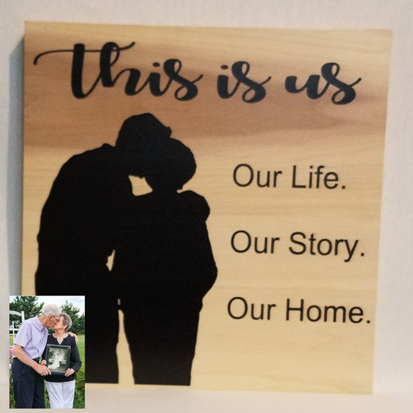 this is us family home decor custom silhouette anniversary gift wedding hustband wife boyfriend girlfriend wood wall art sign natural personalized