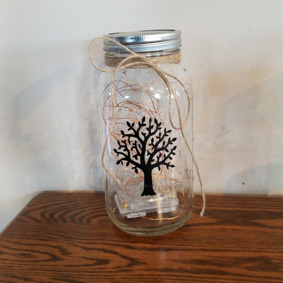 Tree Silhouette Light Jar Decor Farmhouse Family