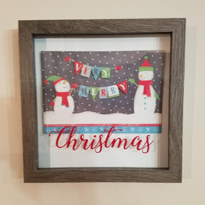 Very Merry Christmas Snowman Framed Shadow Box Wall Art or Table Top