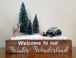 Snowmobile Decor Wood Tray Snow Scene Winter Wonderland Cabin Rustic