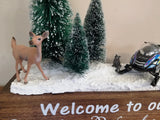 Welcome to our Winter Wonderland Handcrafted Scene and Wood Tray Decor