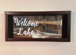 Welcome to the Lake Canoeing Canoe Shadow Box Picture Hanging Decor Lake House Lake Home Cabin Cottage