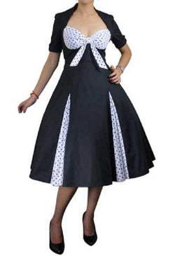 black polka dot tie front short sleeve plus size dress vintage 50s pinup pin up retro rockabilly
