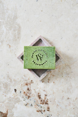 PEPPERMINT + EUCALYPTUS + ROSEMARY WITH SPIRULINA SOAP - Earth Elements Soapworks