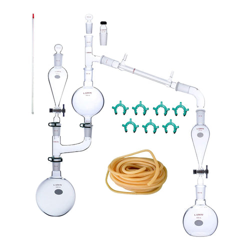 Laboy Glass Steam Distillation Apparatus Kit Distilling Set with Biomass Flask Essential Oil Extraction Maker Organic Chemistry Lab Glassware Equipment 25pcs