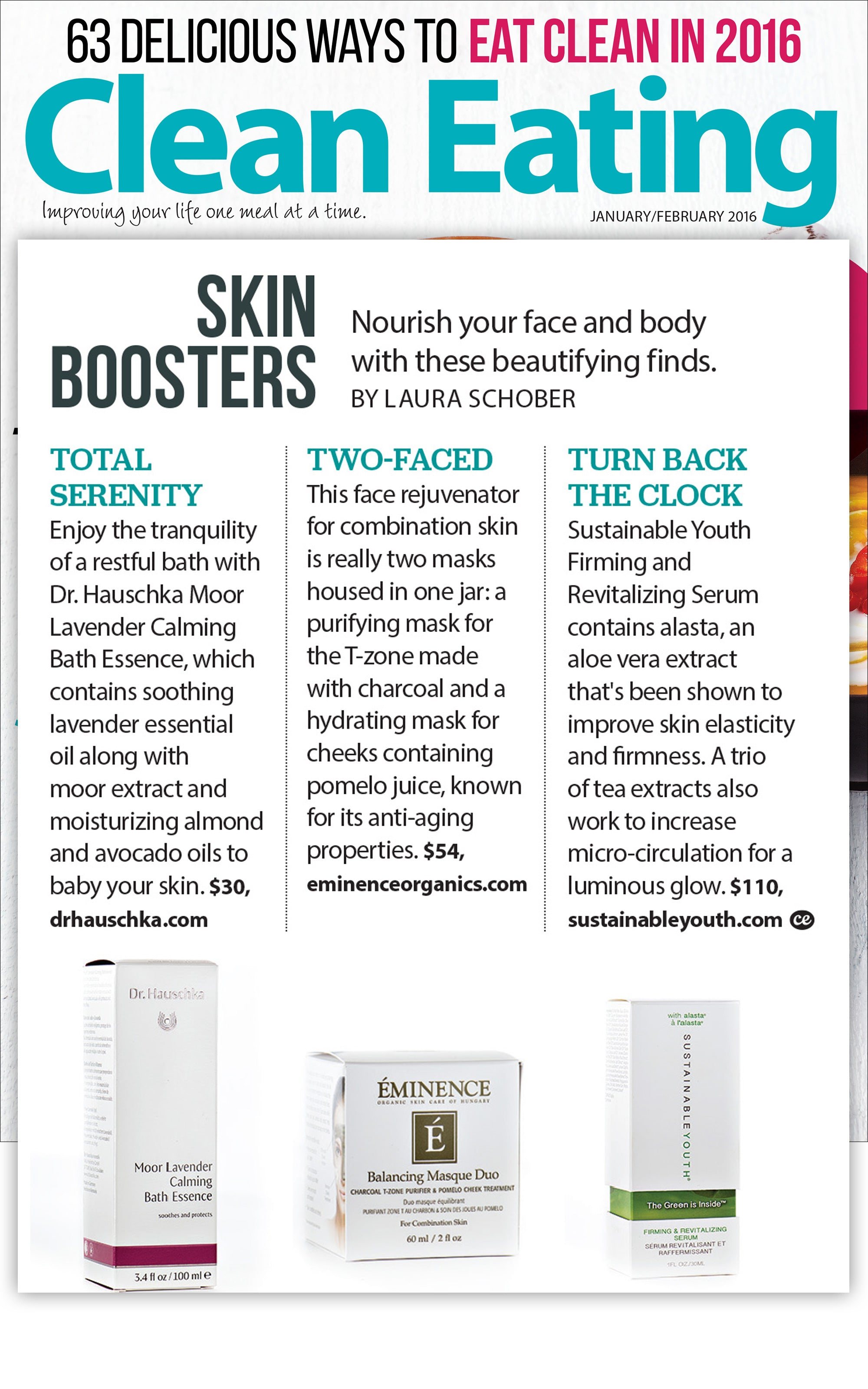 Sustainable Youth Firming & Revitalizing Serum featured in Cleaning Eating, Jan/Feb 2016