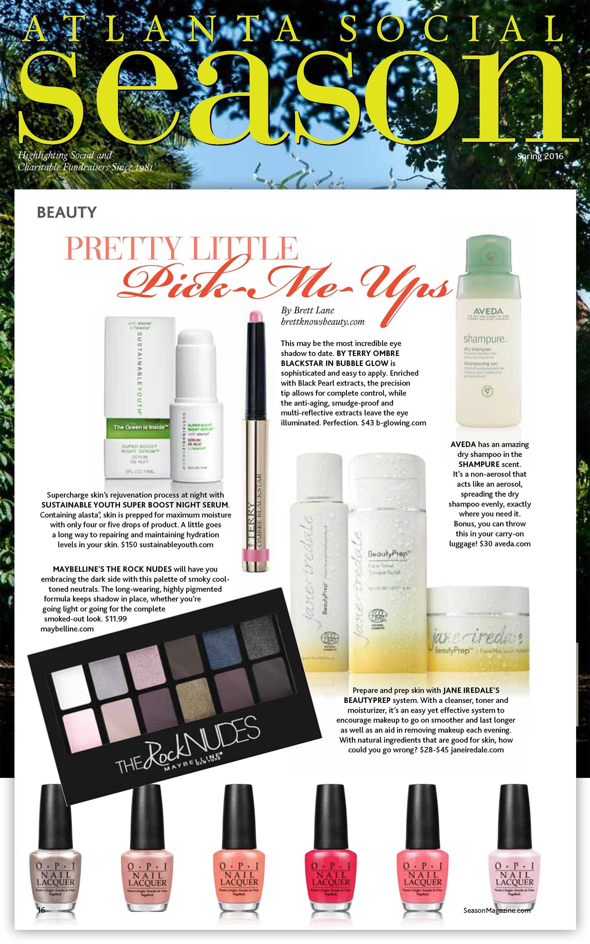 Sustainable Youth Super Boost Youth Night Serum featured in Atlanta Social Season Magazine, Spring 2016
