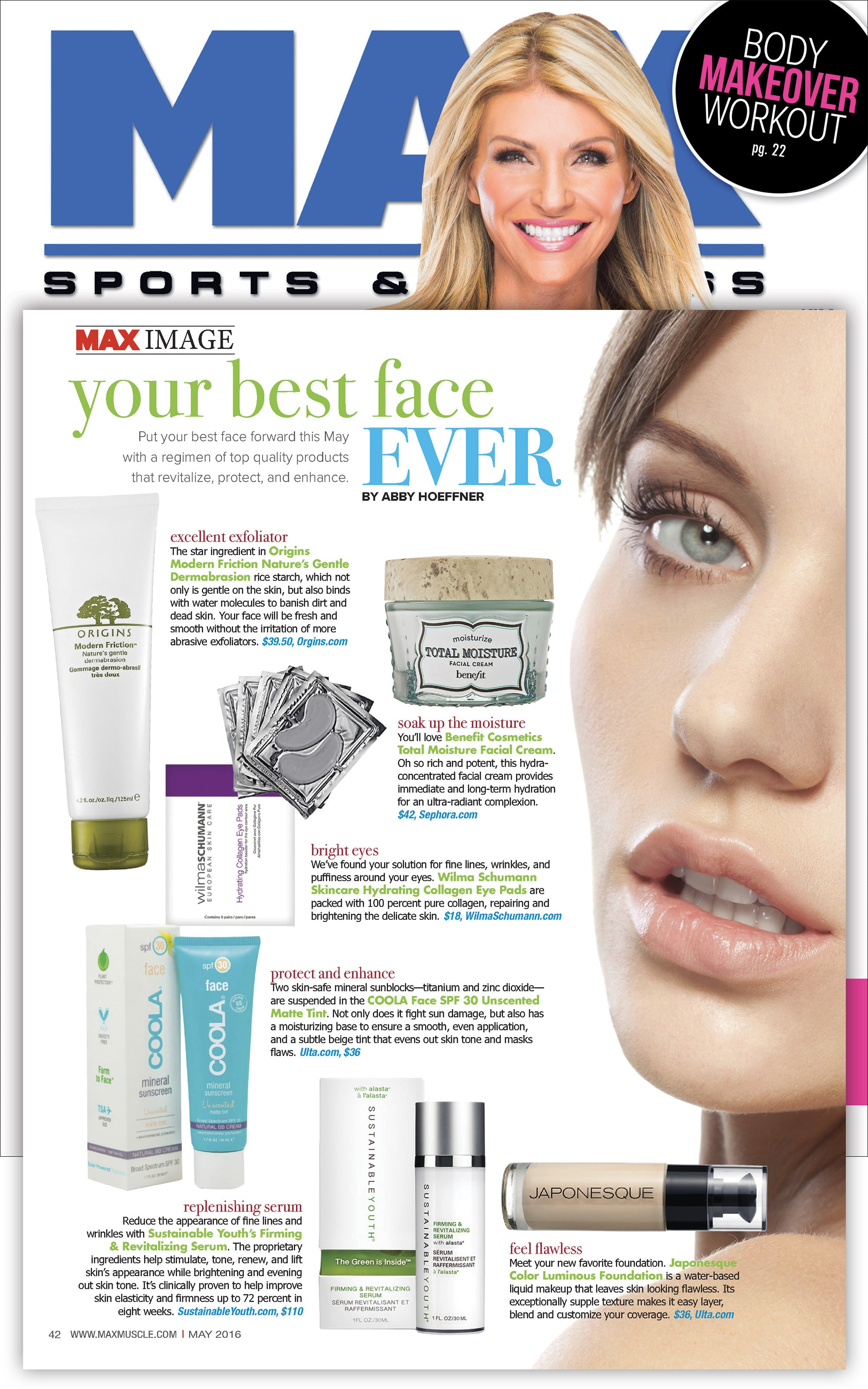 Sustainable Youth Firming & Revitalizing Serum featured in Max Sports & Fitness May 2016