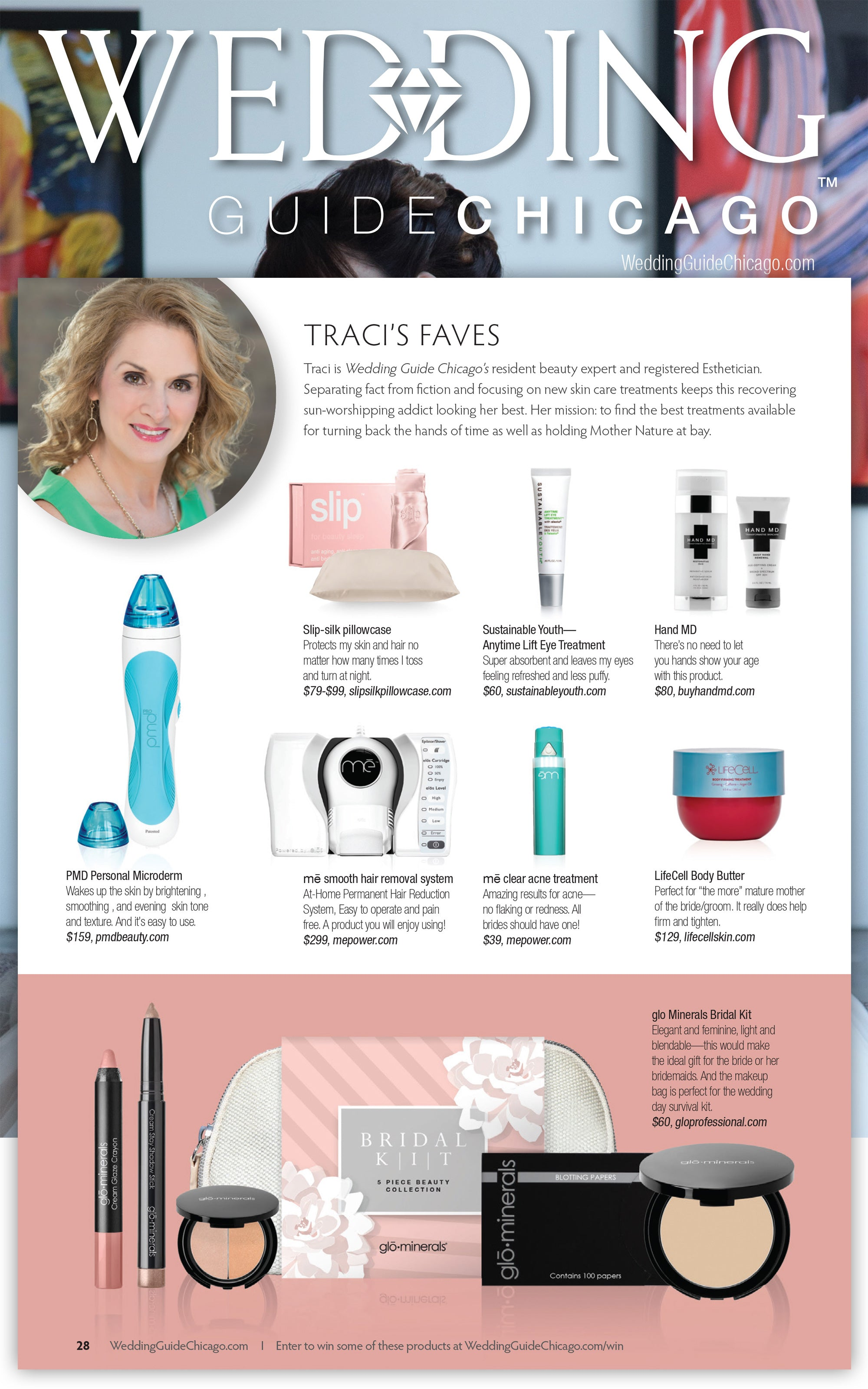 Sustainable Youth Anytime Lift Eye Treatment featured in Wedding Guide Chicago, Winter/Spring 2017