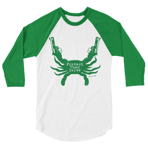Protect Then Serve 3/4-Sleeve Tee - Kelly Green on White