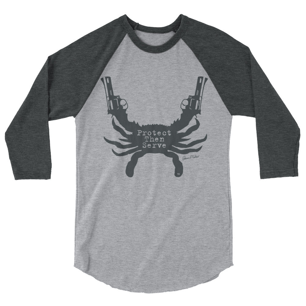 Protect Then Serve 3/4-Sleeve Tee - Charcoal on Gray