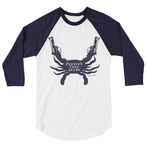 Protect Then Serve 3/4-Sleeve Tee - Navy on White