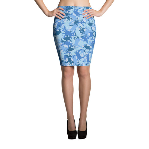 Blue Crab Camo Pencil Skirt