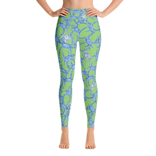 Bushel Of Mini Crabs Yoga Leggings in Green