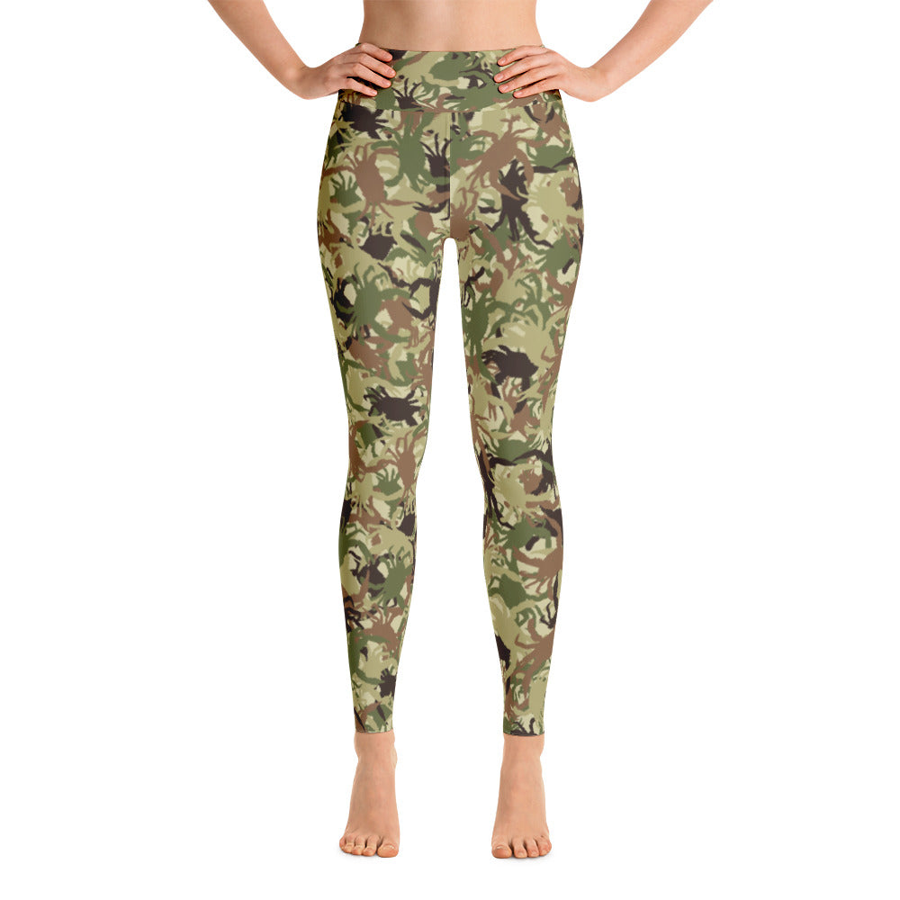 Green Crab Camo Yoga Leggings