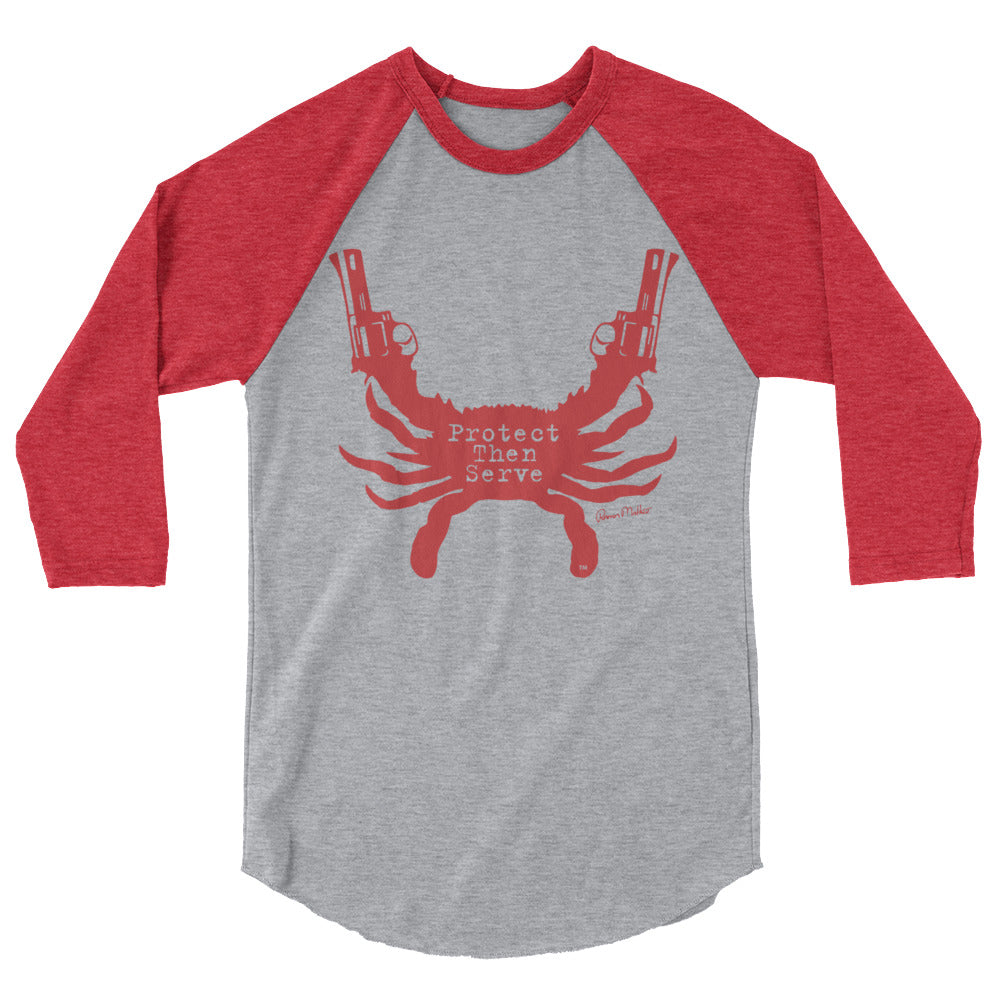 Protect then Serve 3/4-Sleeve Tee - Heather Red on Grey