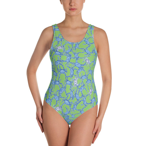 Bushel of Crabs One-Piece Swimsuit in Green