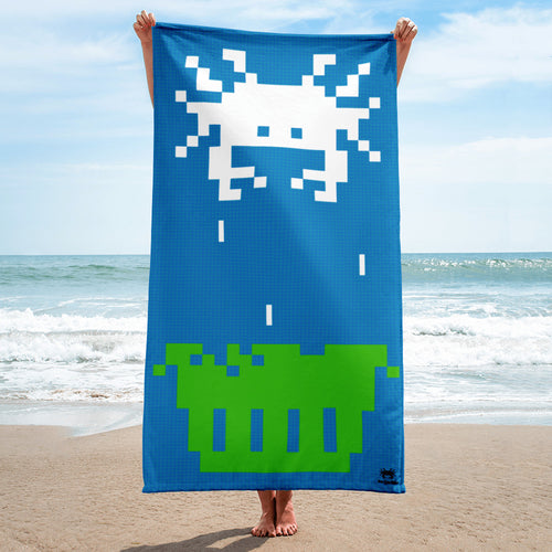 Crab Invader Beach Towel