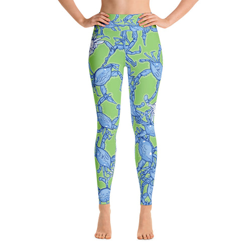 Bushel Of Crabs Yoga Leggings on Green
