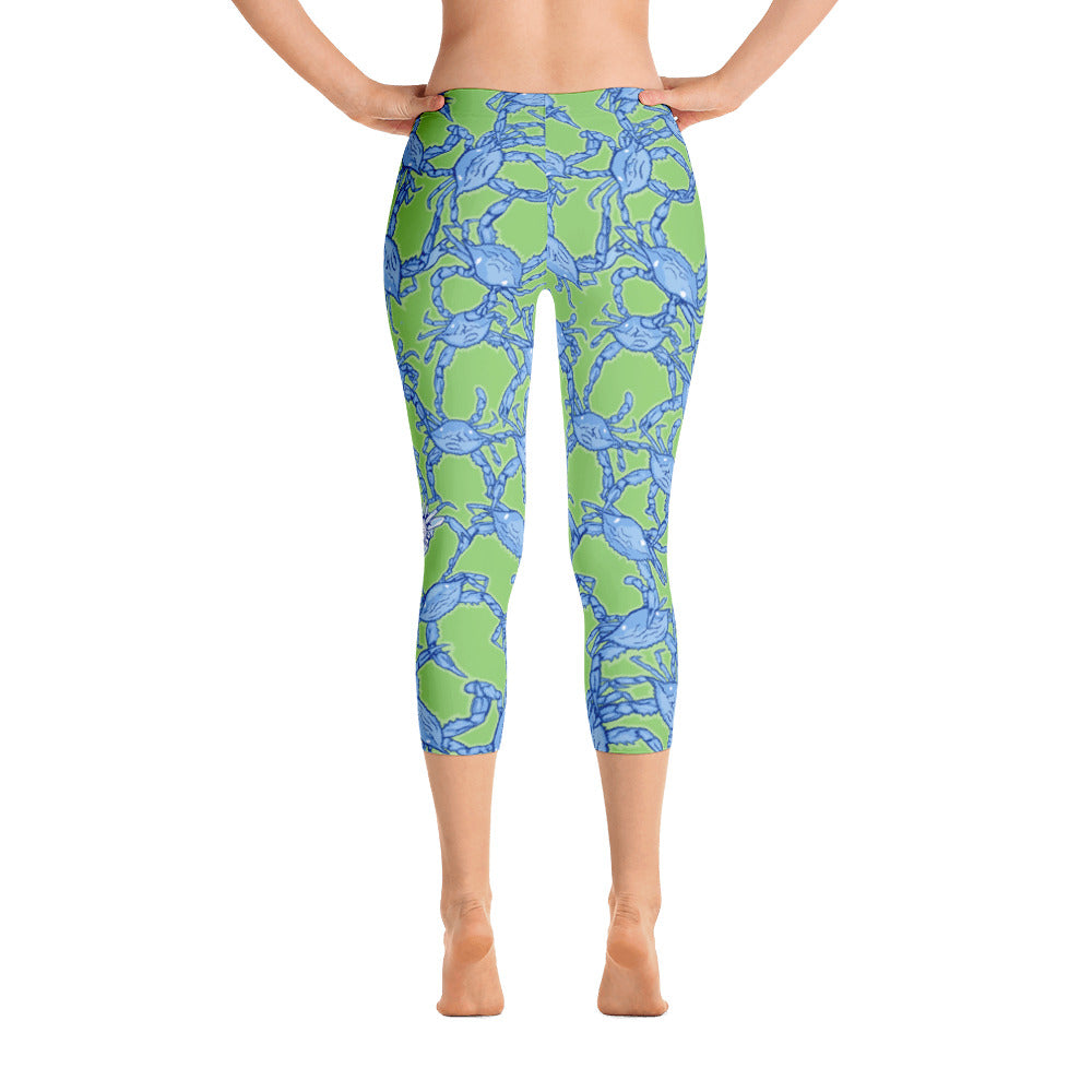 Bushel of Crabs Capri Leggings in Green