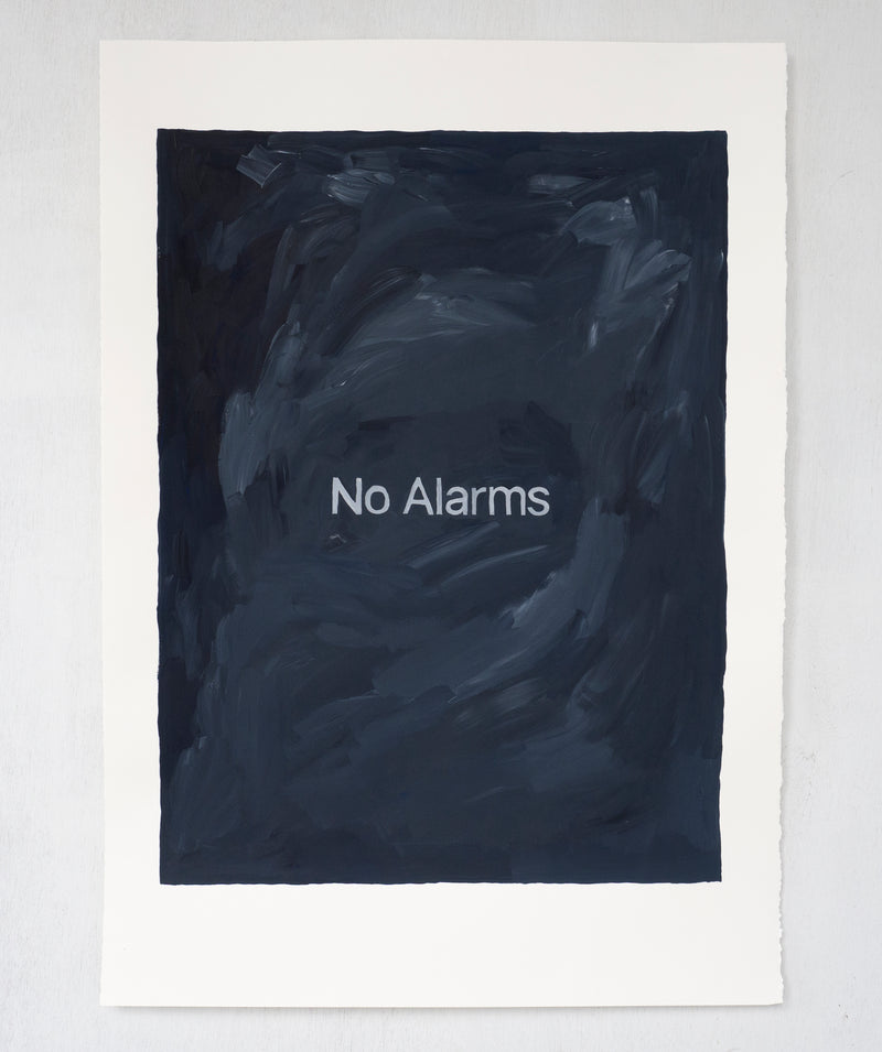 No Alarms. Gouache painting on paper.