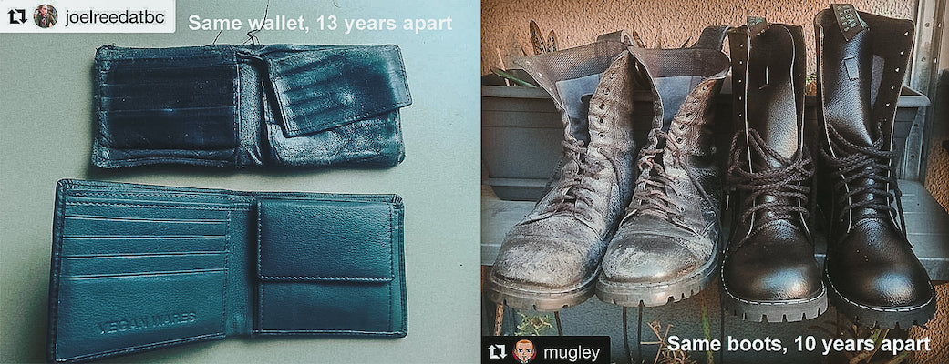 Durable vegan wallets and boots