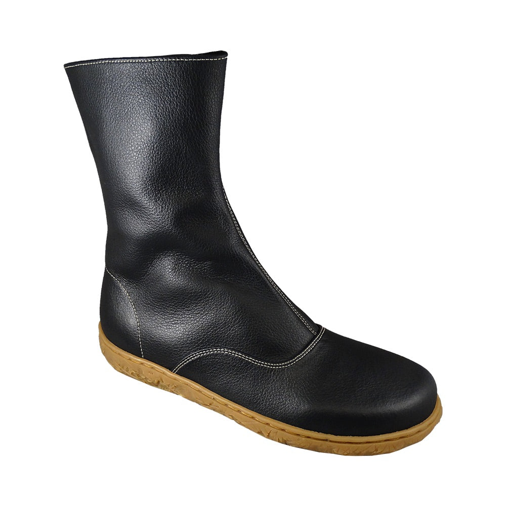 Spencer zip boot, Black, beige sole_Vegan Shoes_Vegan Wares