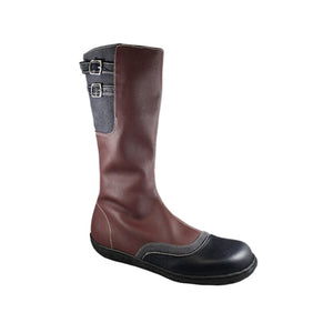 Swanston zip boot, aubergine, charcoal & black_Vegan Shoes_Vegan Wares