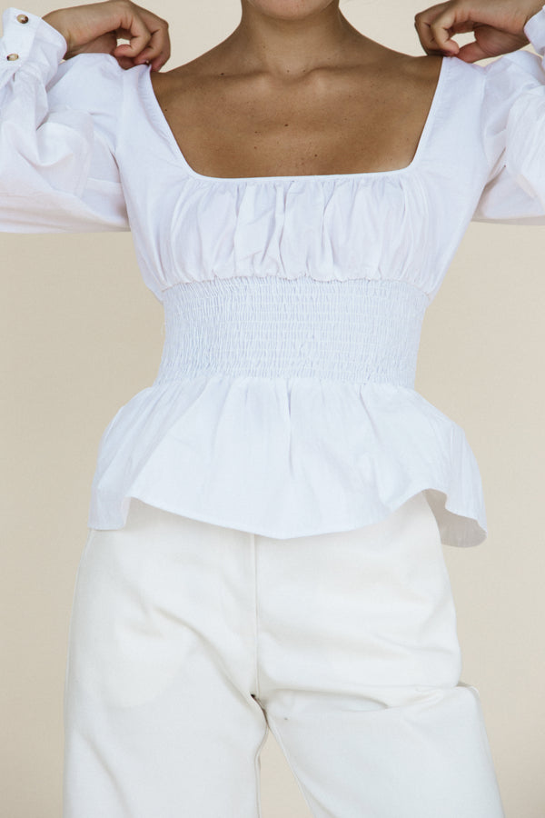 Colombo Top White Washed Cotton