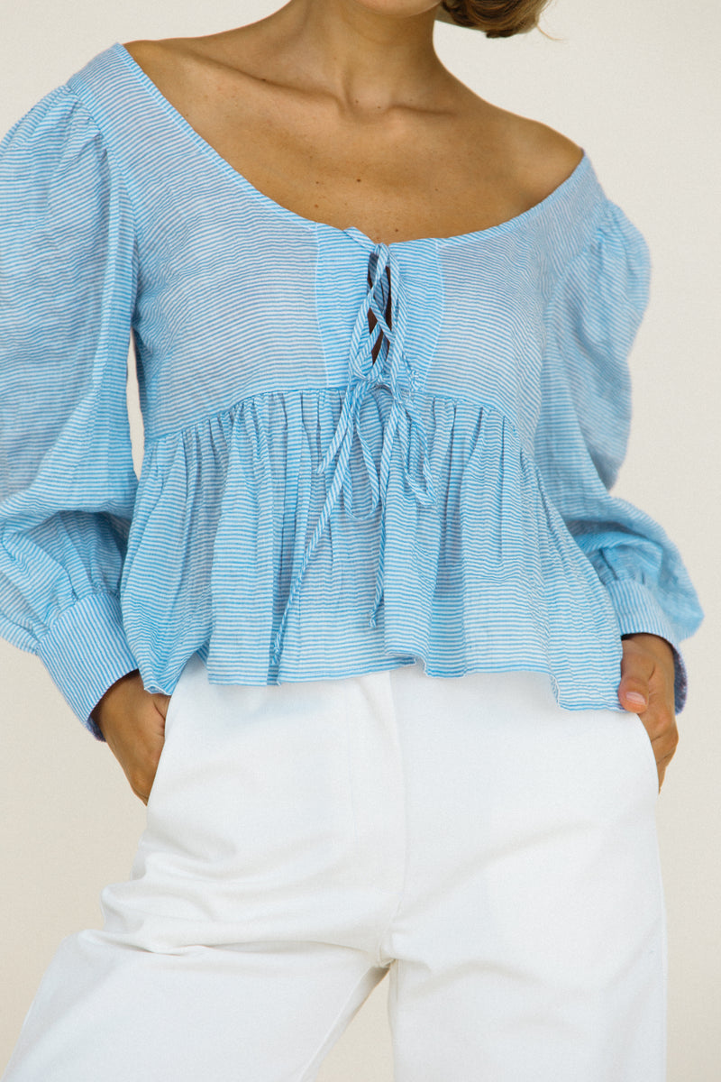 Benedetta Top Baby Blue Sustainable Stripe