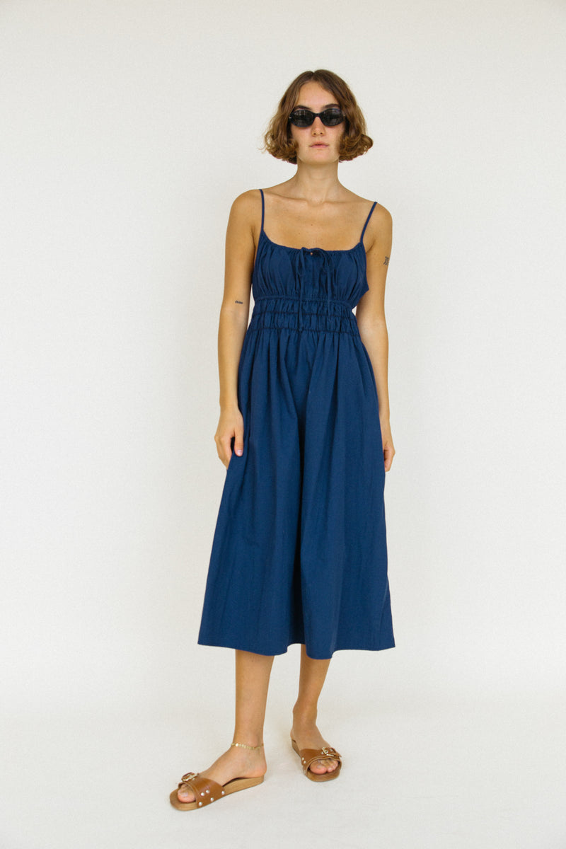 Gabriela Dress Navy Washed Cotton