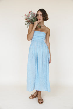 Gia Dress Baby Blue Sustainable Stripe