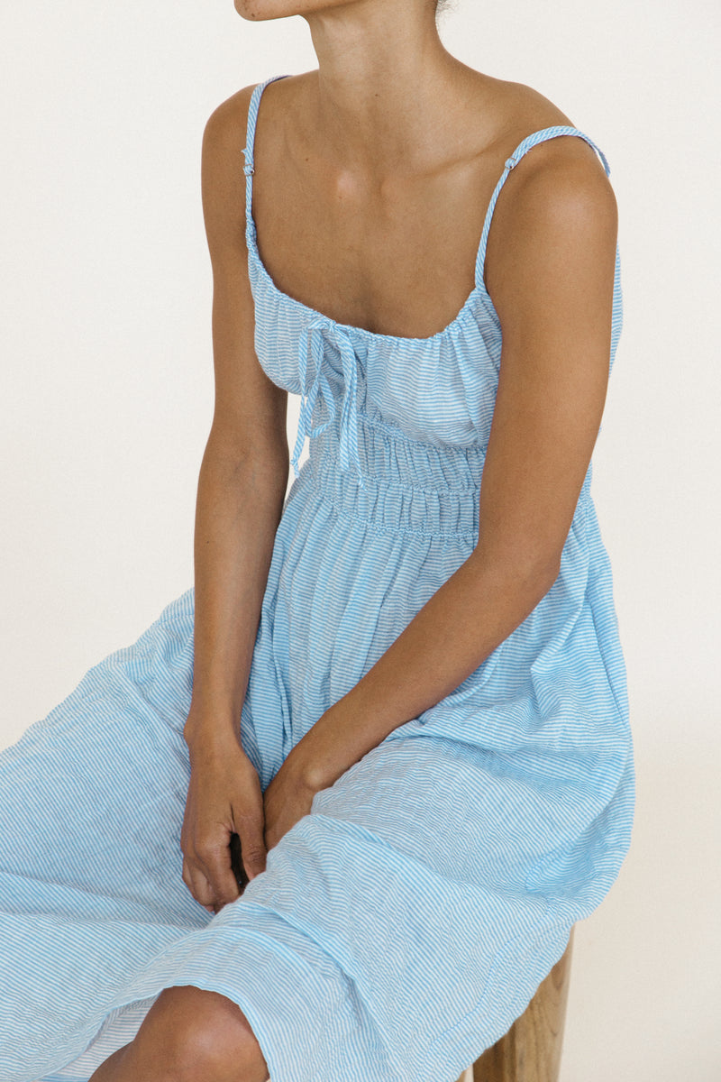 Gabriela Dress Baby Blue Sustainable Stripe