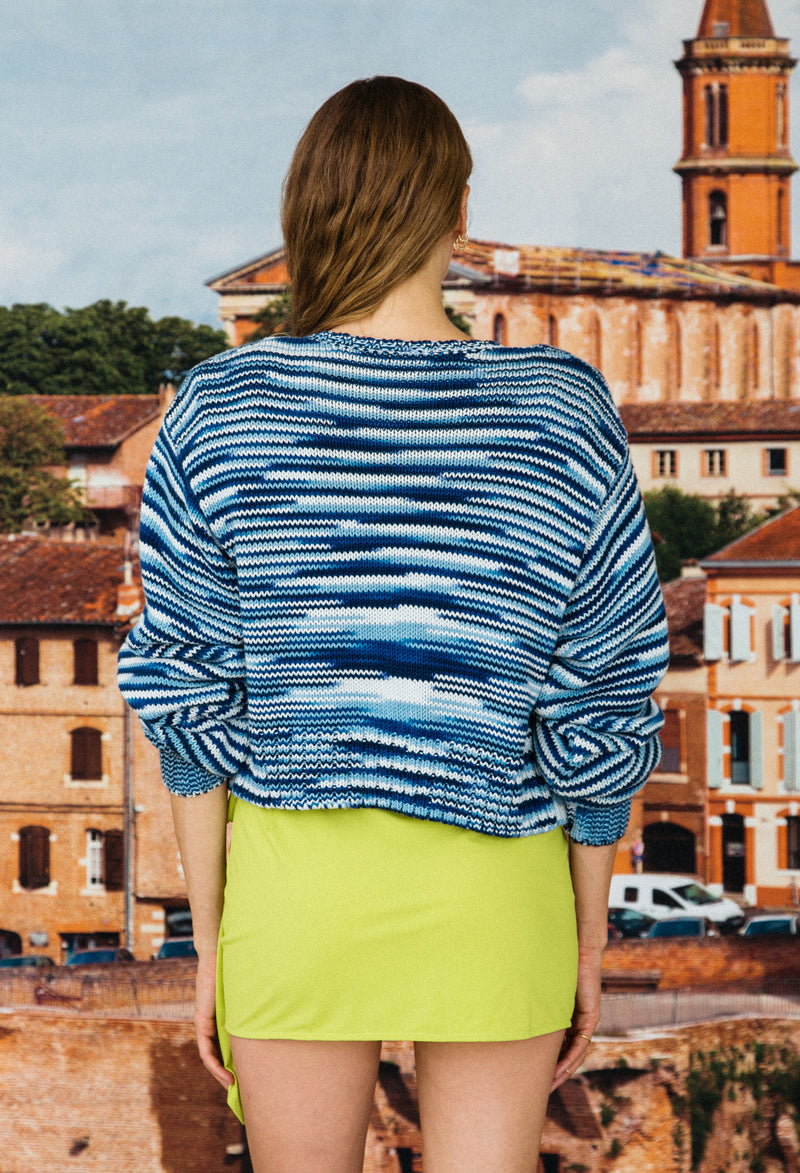 Varese Cardigan Acqua Space Dye