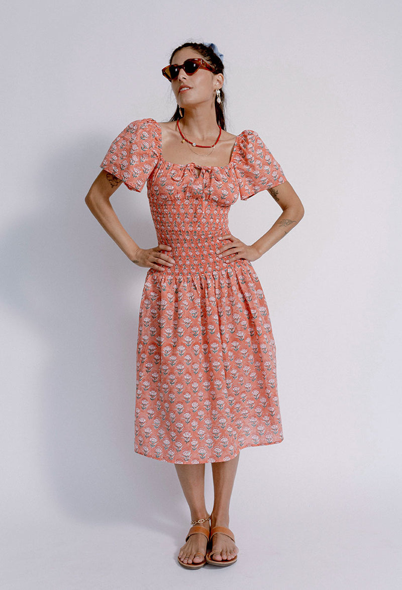 Chiara Dress Coral Floral Block Print
