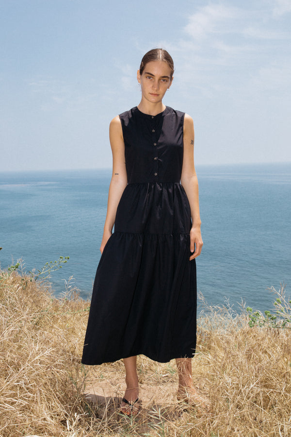 Freya Dress Black Cotton PRE-ORDER