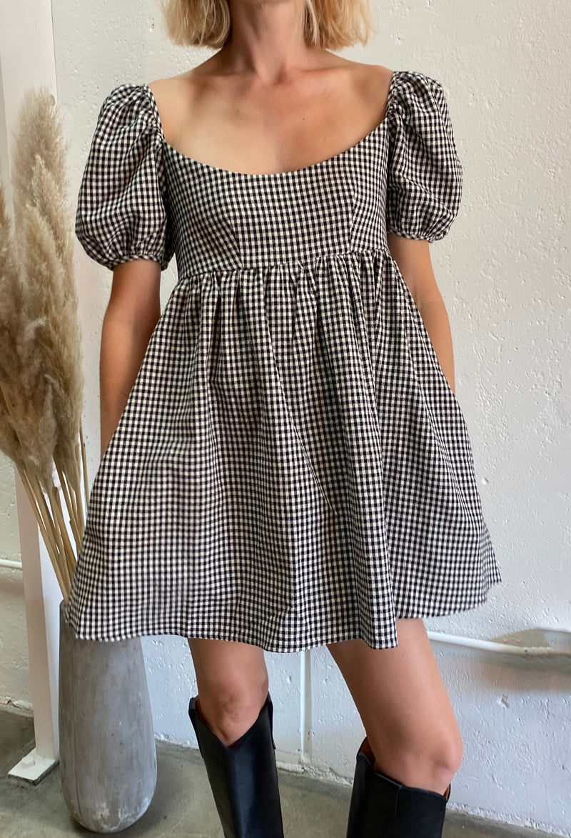 Delfina Dress Black Gingham